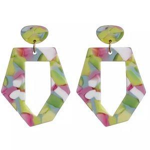 Geometric acrylic acetate colorful earrings